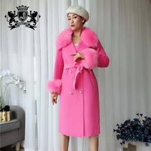 Women's Double breasted Fur collar long 100% wool Double Face Trench 100% cashmere coat