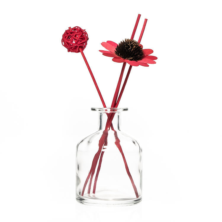 Room Decorative 50ml Round Empty Clear Glass Reed Diffuser Flower Vase Bottle