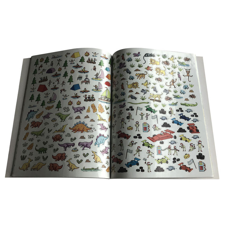personalized design art paper offset printing perforated pages colorful A4 children sticker book printing