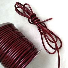 YQ-RL06B Excellent Shiny Bracelet craft Claret braided 3mm wax  leather cord wholesale