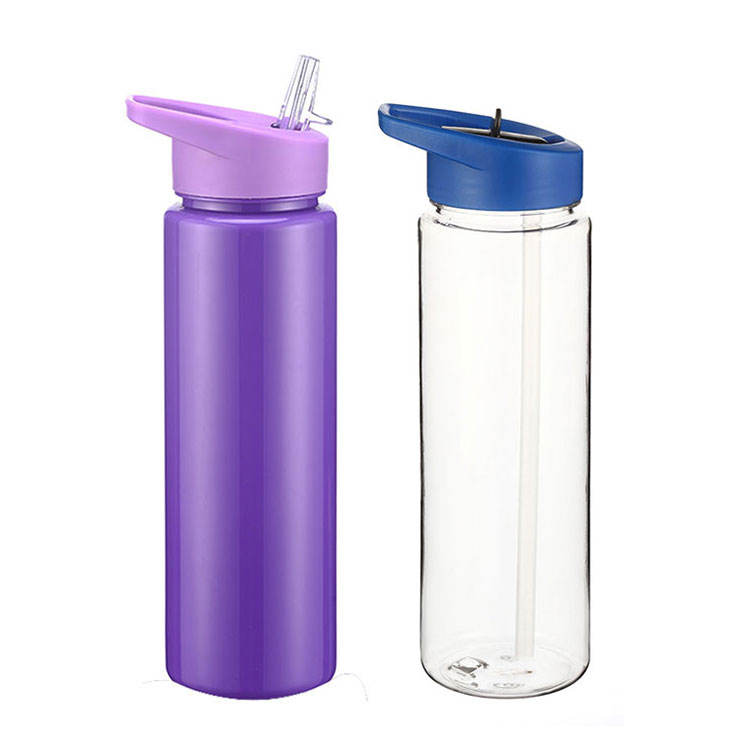 Most Popular 750ml easy taking bicycle bpa free wholesale cold drinks plastic sports clear tritan water bottle with straw