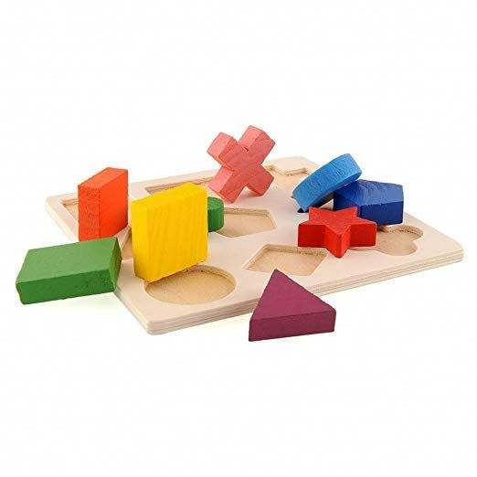 Hot selling design educational wooden puzzle toys shape matching geometry kids learning toys
