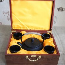 Japan cast iron teapot and teacup packing in ebony gift box
