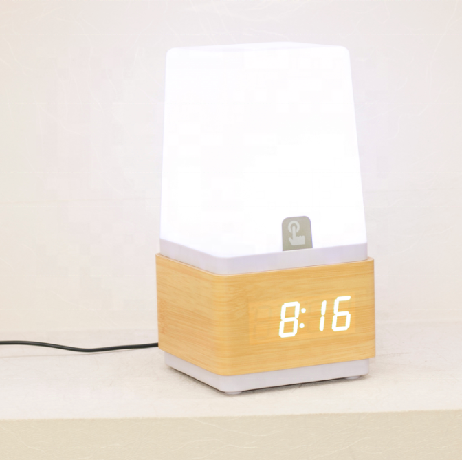 Touch sensing lamp wooden alarm clock wake up light wooden table clock