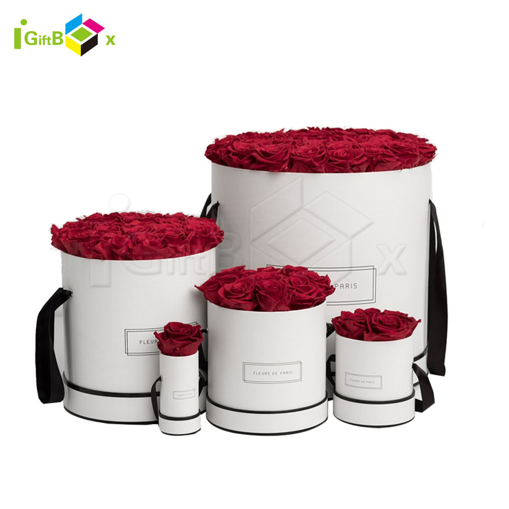 Luxury High Quality Customized Logo Single Flower Round Hat Box Carton White Round Box For Flowers