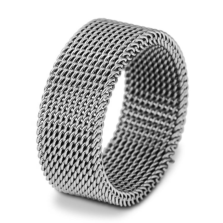 Factory Direct Sale Hot Sale Cheap Fashion Unisex Elastic 304 Stainless Steel Mesh Rings