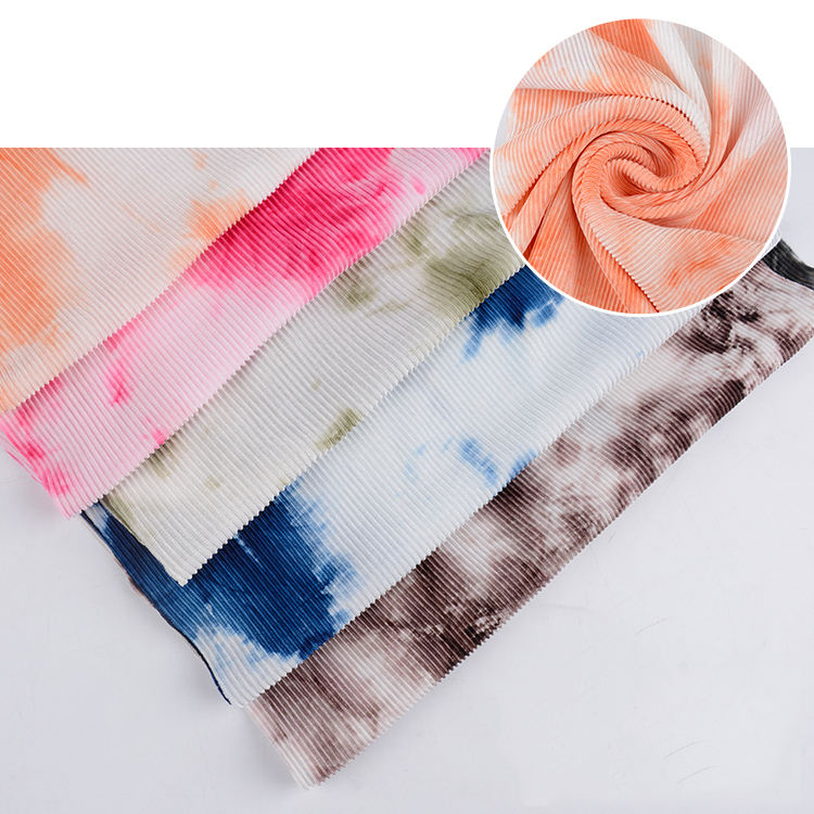New arrival tie-dye pleated crinkle polyester fabric for jersey