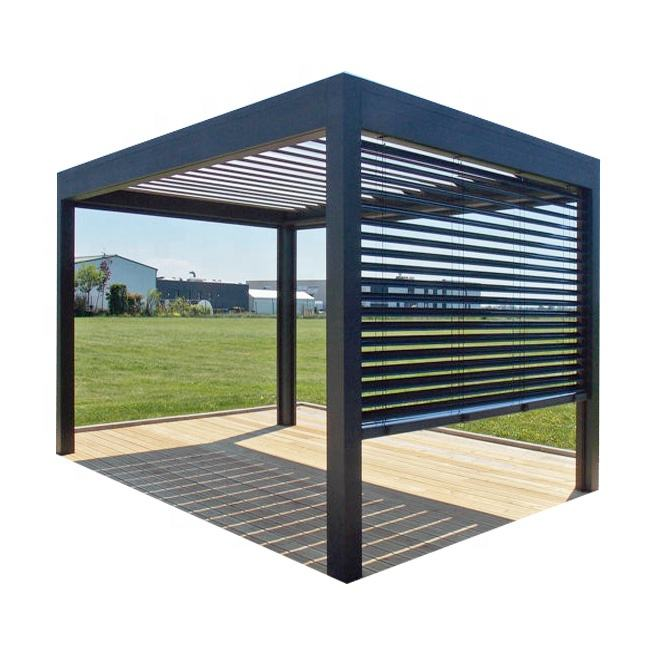 Motorized Waterproof Awning Folding Louver Roof System Design Bioclimatic Garden Aluminium Pergola With Light