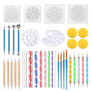 36pc Mandala Stencil Dotting Tool Painting Template Set Acrylic Rod Pottery Clay Craft Stamp Nail Art Tool
