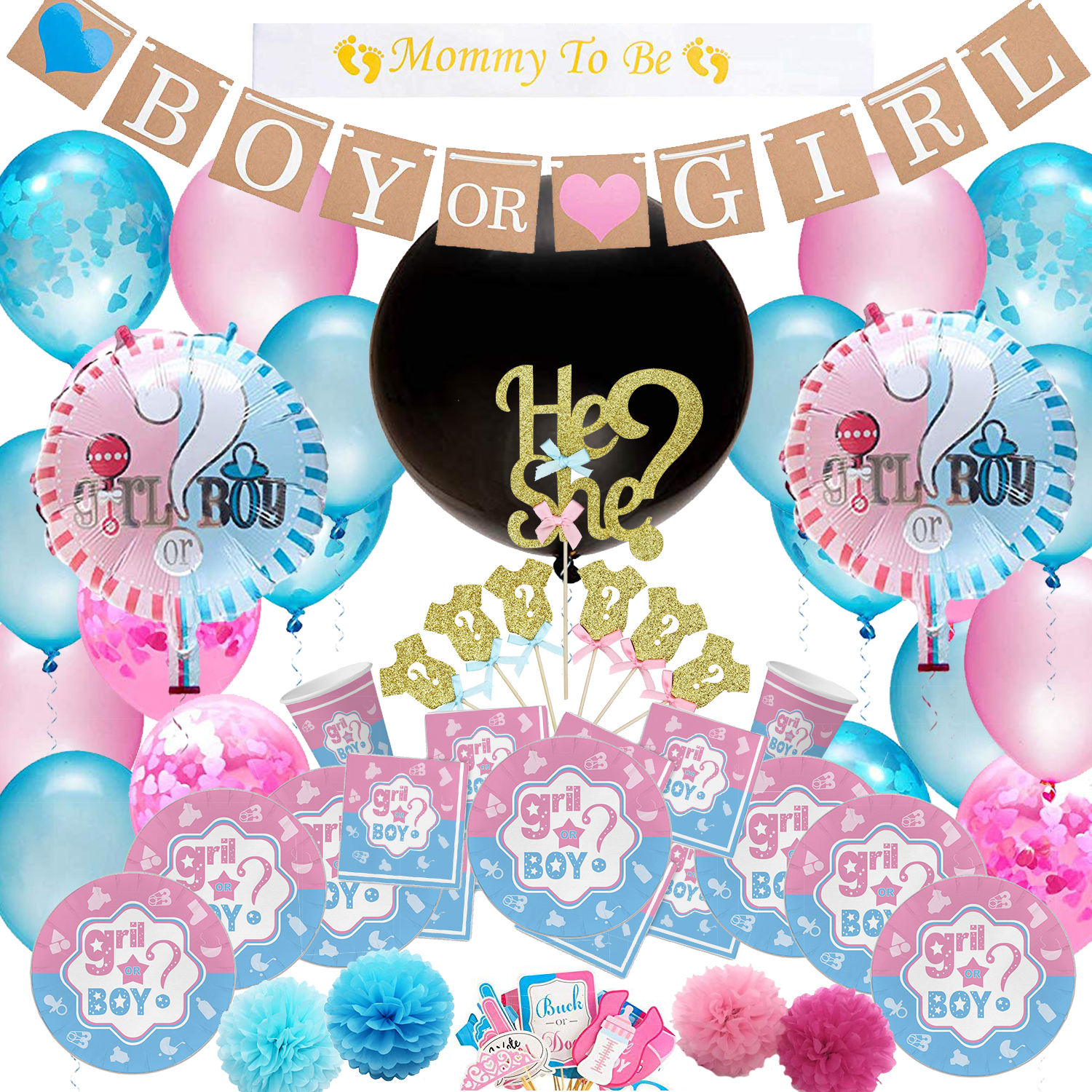 New Design baby shower themed Wholesale gender reveal party supplies