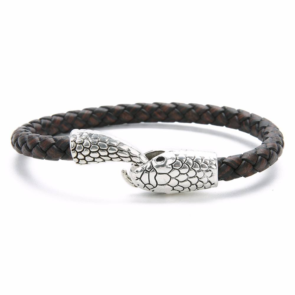 Genuine Leather Bracelet & Bangle Snake Head Bracelet for Men Blessing Men Bracelet Jewelry Accessories