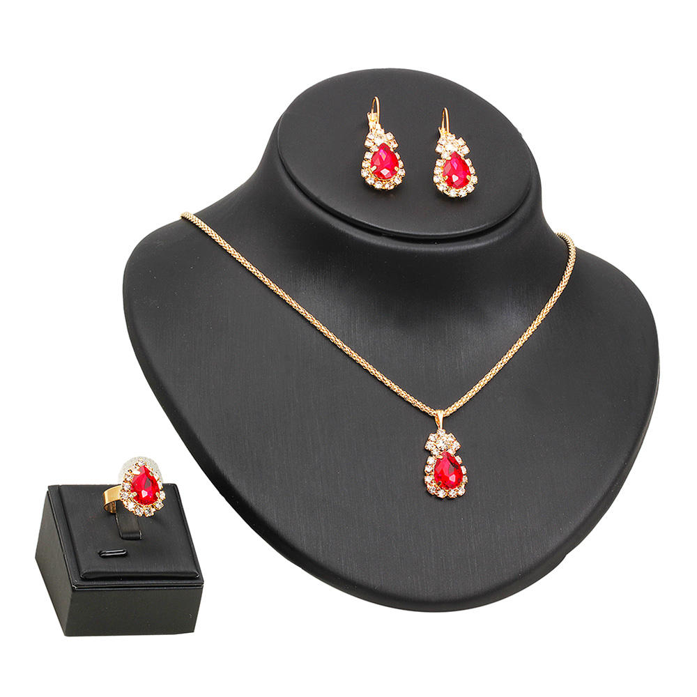 daily wear fashionable diamond gemstone glittering water drop necklace earring ring set jewelry pendant colored for female