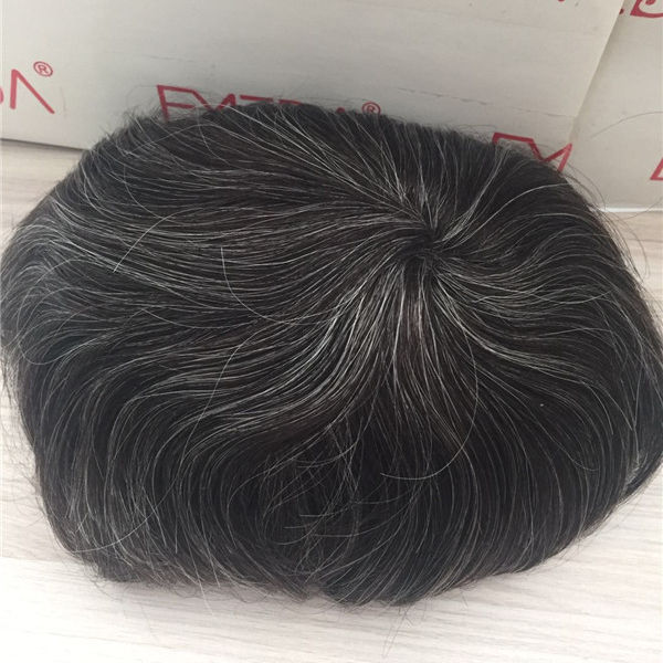 YL High quality remy human hair piece super thin skin human hair with grey hair men toupee