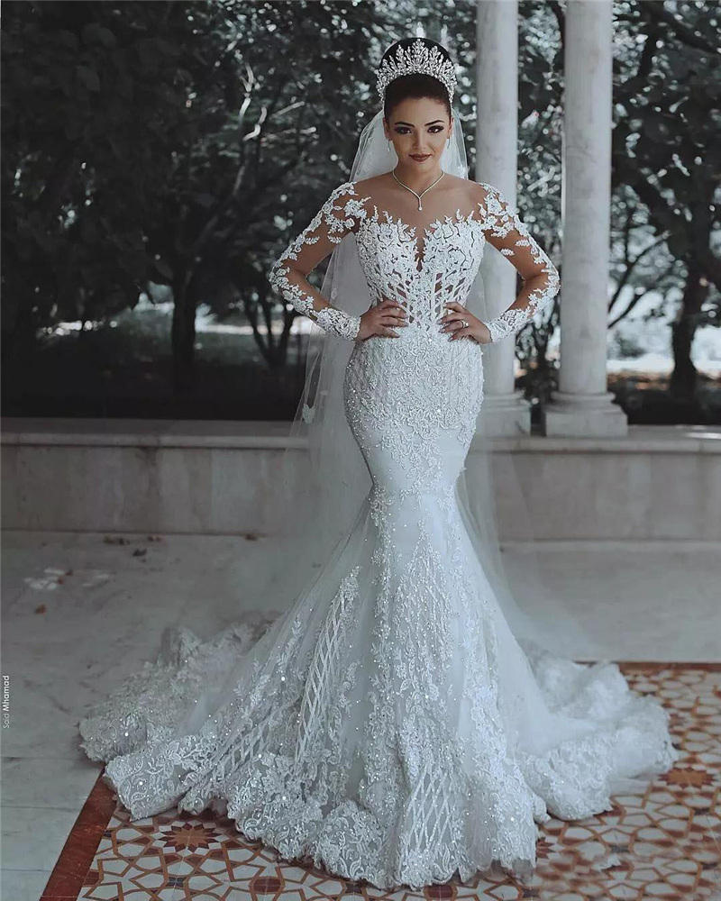 Custom Made Illusive Mermaid Wedding Dresses Full Sleeve Backless Lace Bridal Gown