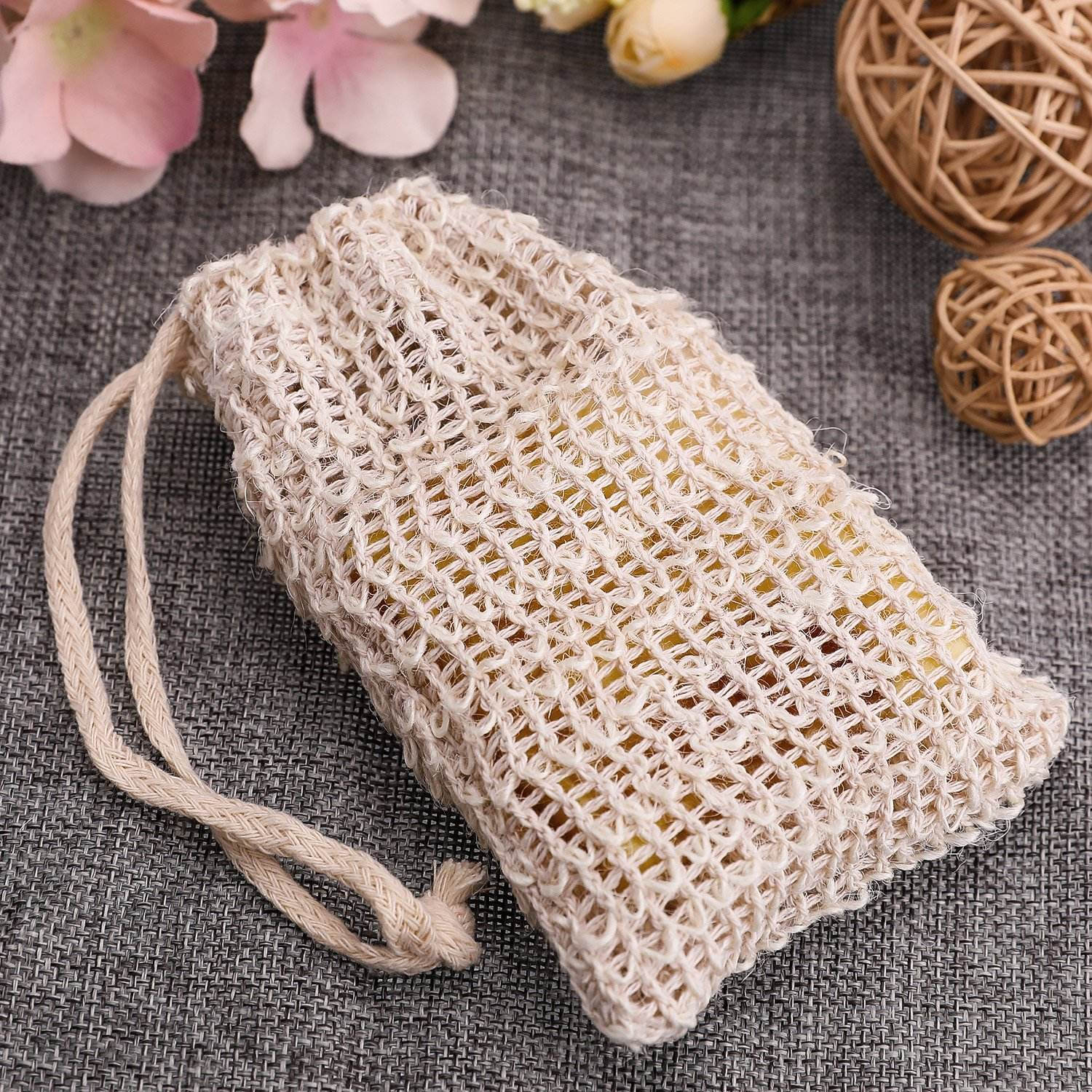 ECO DRAWSTRING JUTE LINEN WHOLESALE NATURAL COTTON NET MESH SISAL SOAP BAG