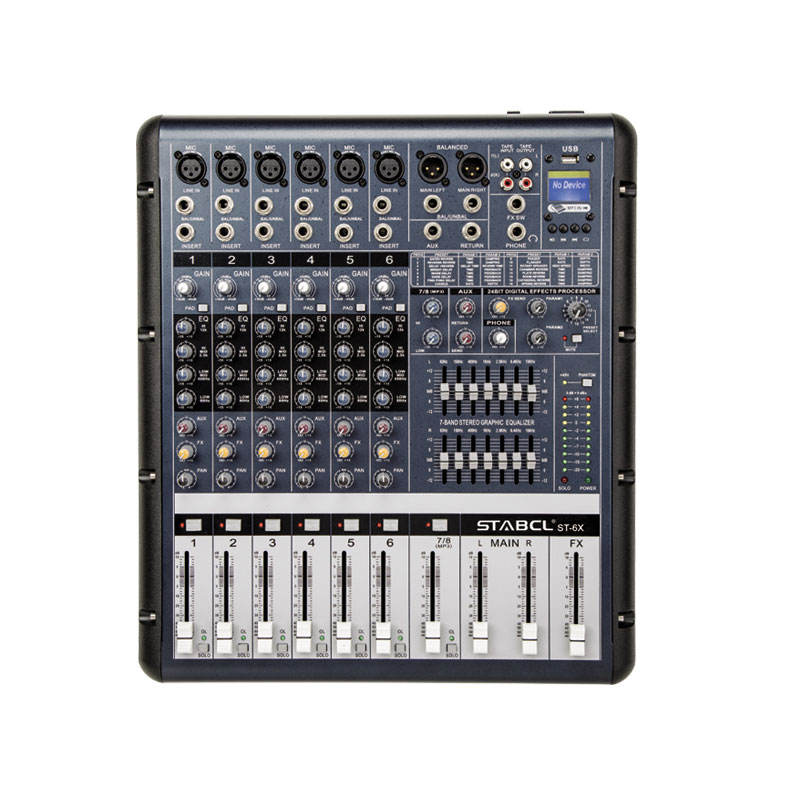 6 Channels USB Digital Mixer, MP3 MUSIC DSP EQ 4 Bands Mixing Console Professional Audio Mixer Sound With Phantom Power