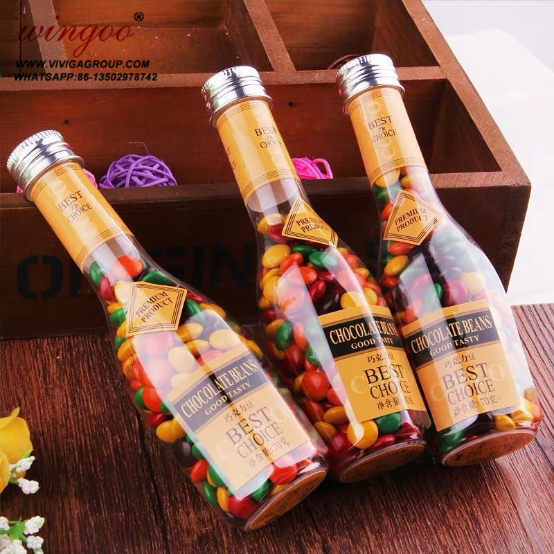 wine bottle shaped colorful chocolate bean candy in gift packing
