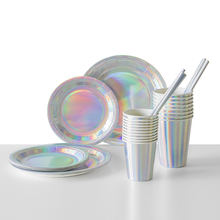 Iridescent Holographic Foil Paper Wedding Party Decoration Supplies Kids Birthday Party Plates Cups Napkins Set