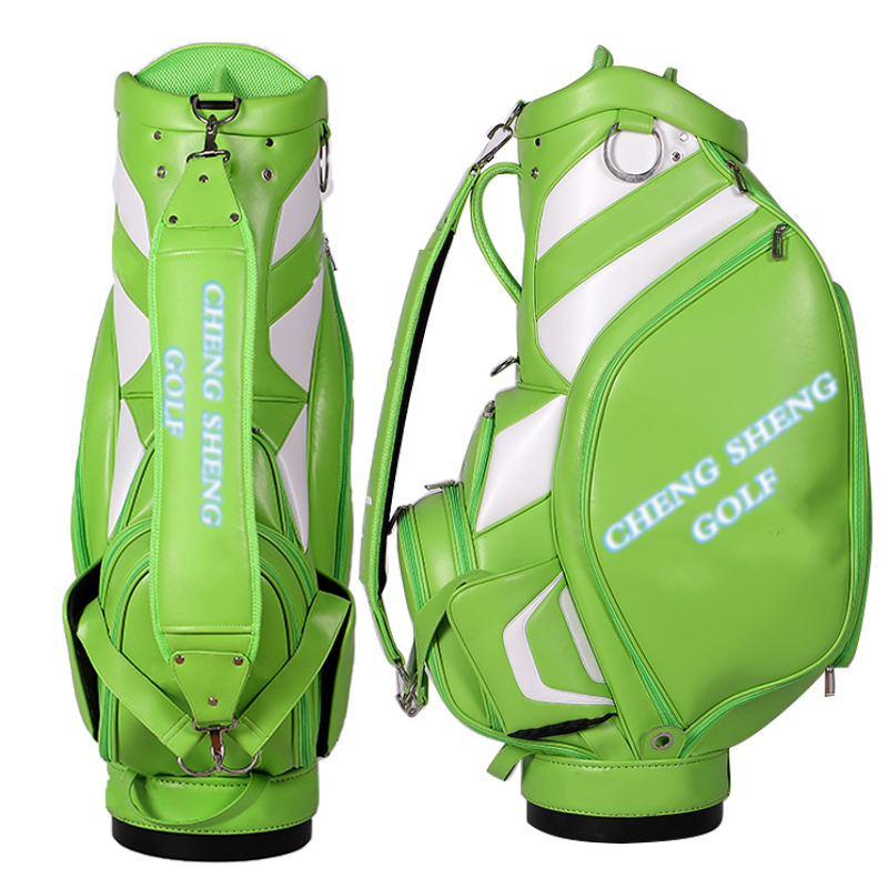 Customized Golf Bag Green PU Leather Golf Staff Bag Large Capacity