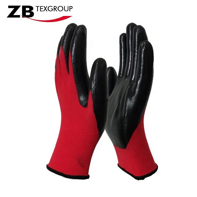 CE Standard High quality 13g nitrile coated cheap working anti oil hand industry knitted gloves