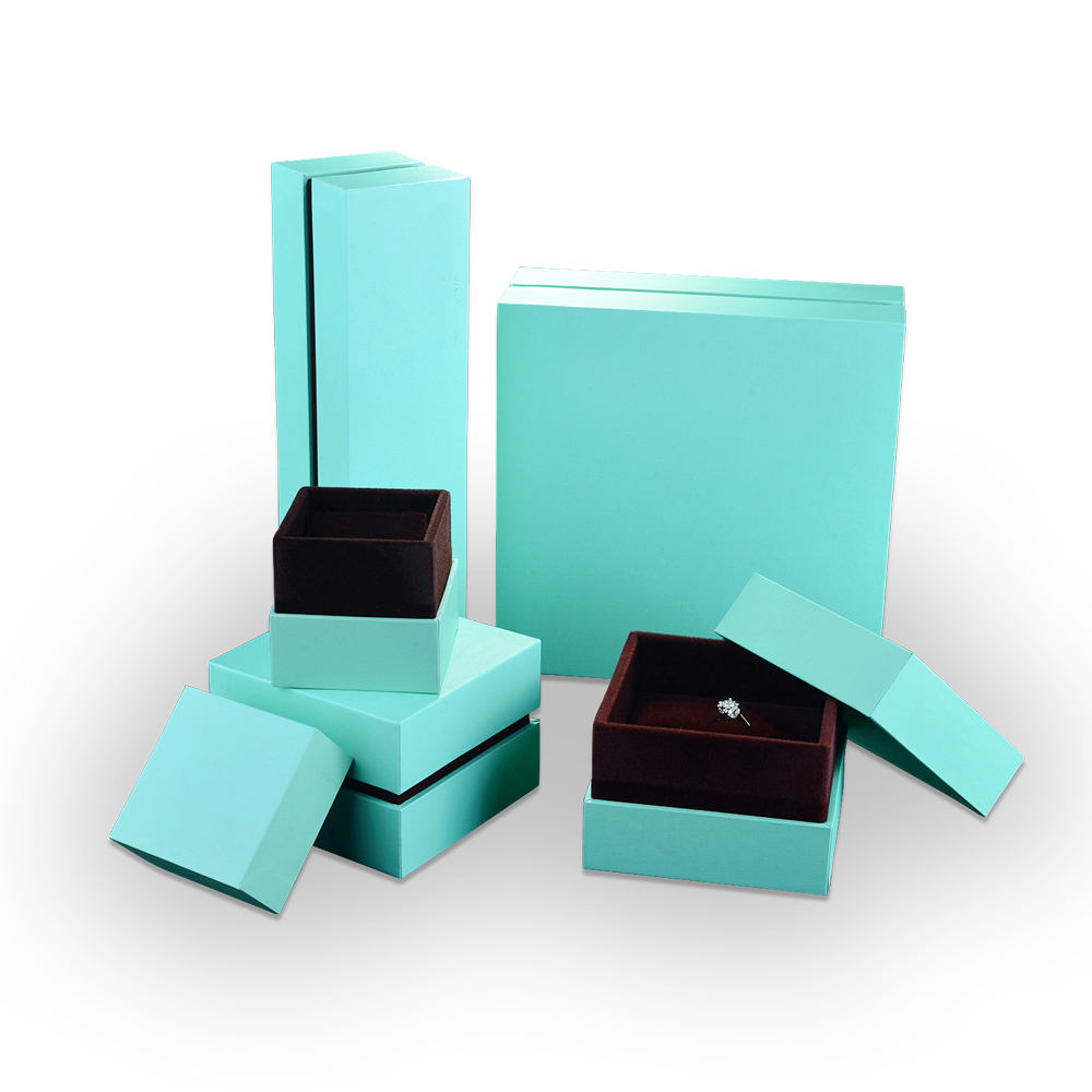Zhonghao Packaging High End Plastic Board Fancy Paper Plain Green Coffee Color Jewelry Box