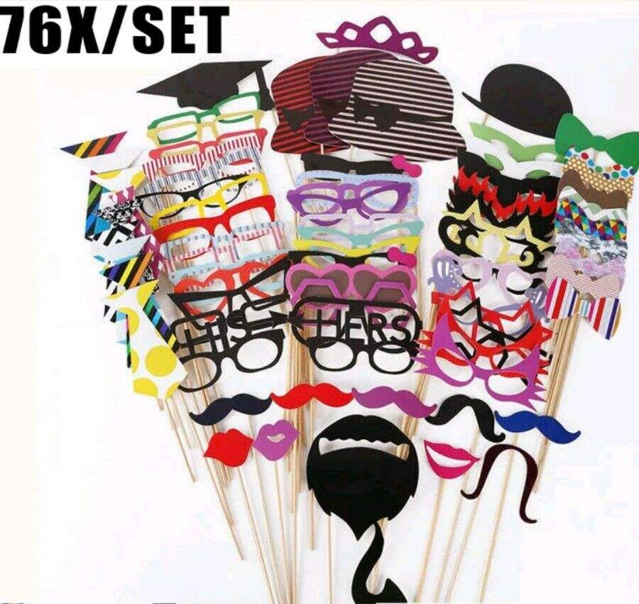 76 pcs Photo Booth Props Verjaardag 40th 50th 60th 70th FUN Anniversary wieden Party BP5836