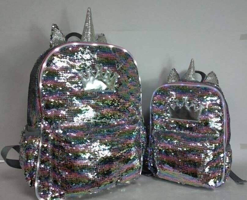 colorful custom made logo sequin LED light backpack shiny in night fashion purple sequin bag sequin backpack bag