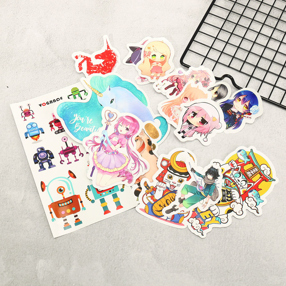 Hot sale VOGRACE cheap OEM cartoon anime custom stickers printing die cut waterproof PVC sticker for children no MOQ