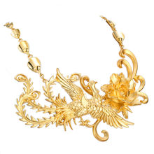 AN8020602 xuping 24k gold large statement costume chianese wedding bridal animal Phoenix necklace jewelry chine bijoux fantaisie