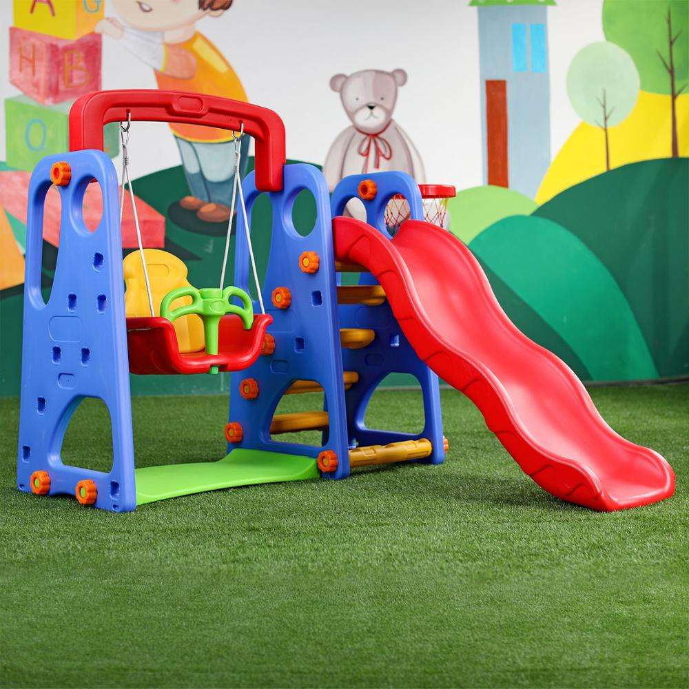 hot sale playground 3 in 1 combine with swing and basketball plastic baby slide for baby