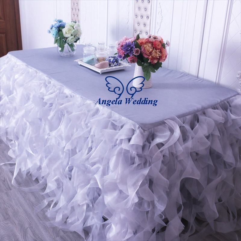 CL010A popular silver grey organza curly willow table skirt or table cloth