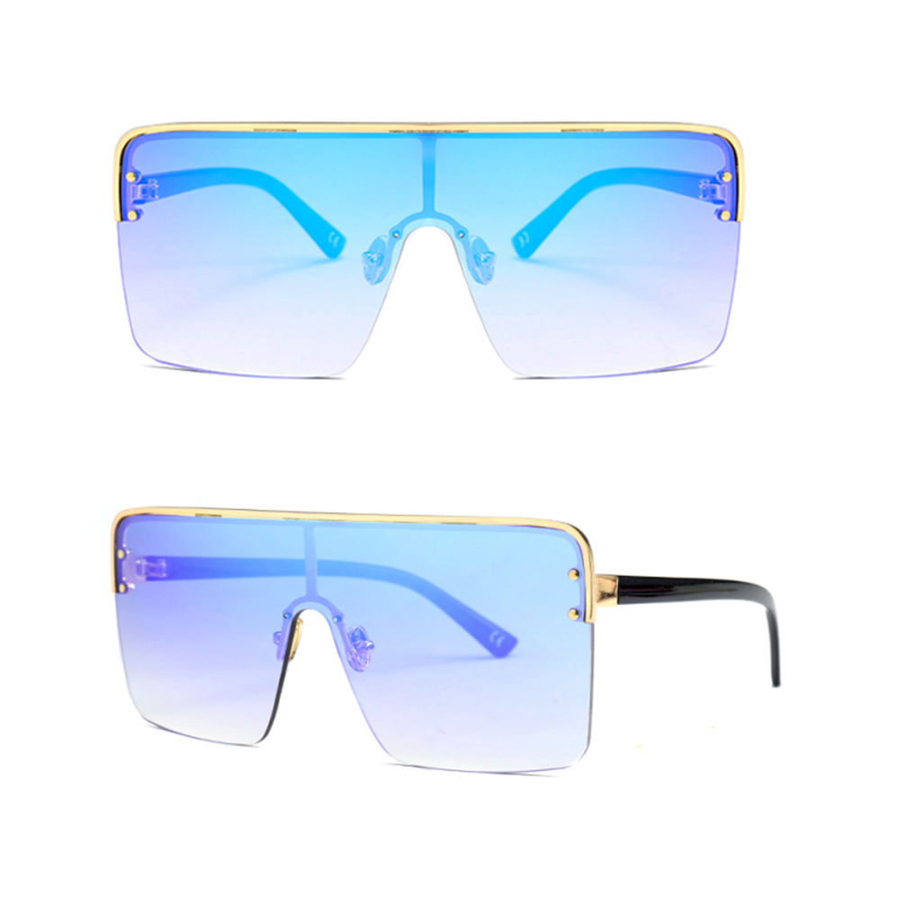 Fashion One Piece Square Retro Oversized Half Rimless Ocean Gradient Personalized Sunglasses