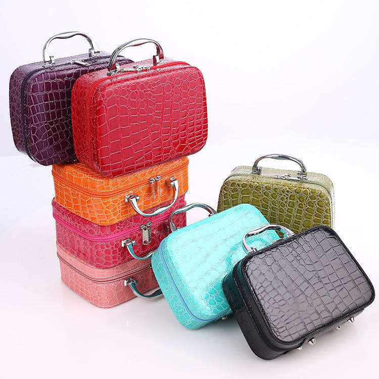 Korean Style Stone Pattern Cosmetic Case With Mirror Ladies Cosmetics Storage Box Square Zipper Portable Cosmetics Bag