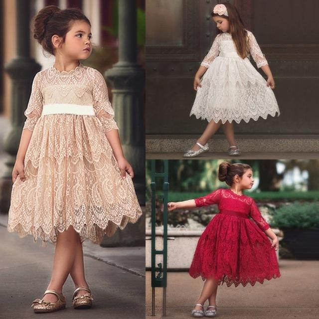 Baby Girl Dress Lace Hollow Tassel Designs Princess Costume Kids Dresses For Girls Party Wear Children Girl Clothing 3 to 8