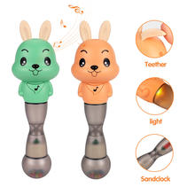 Educational plastic animal shaker hand bell baby rattle silicone teether light music baby toy