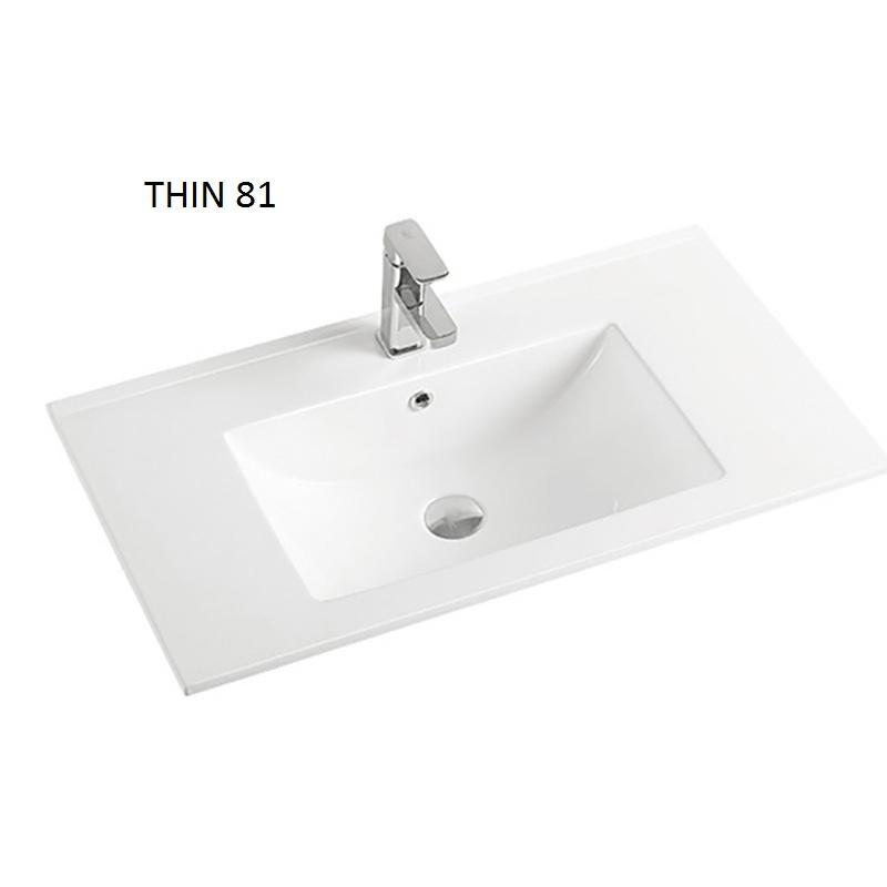 Concise Style 810mm Bathroom Cabinet Counter top ceramic basin rectangle