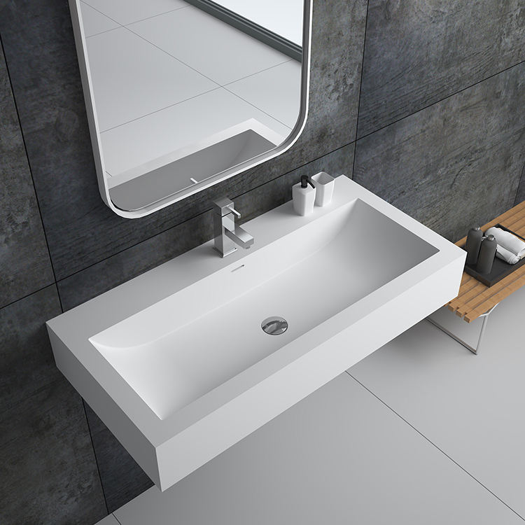 Sm-8432-3 Bathroom Unique Wash Basin Solid Surface Stone Wall Hung Sink In The Bath