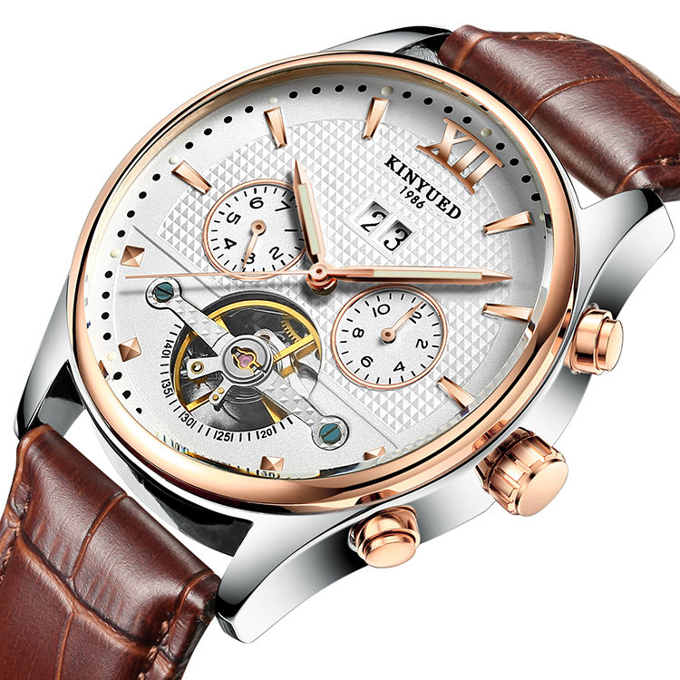 Luminous Men Stainless Steel Genuine Leather Automatic Mechanical Wrist watch Tourbillon Watches