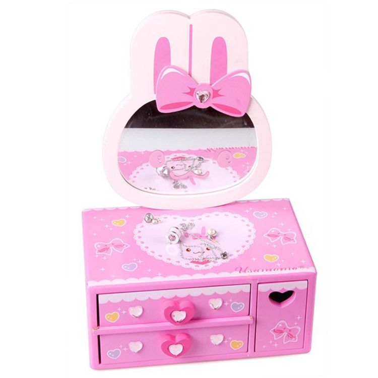 montessor pretend toy simulation beauty makeup play wooden dressing table toy with mirror