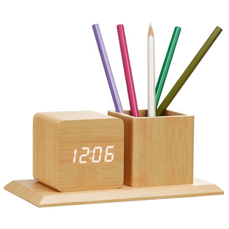 KH-WC009 Modern Square Wood LED Digital Display Date Calendars Temperature Desk Table Alarm Clock with Pen Holder
