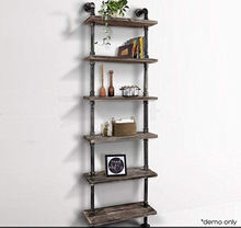 Industrial Rustic Modern Wood Ladder Pipe Wall Shelf 6 Layer Design Decorative Pipe Wall Shelf
