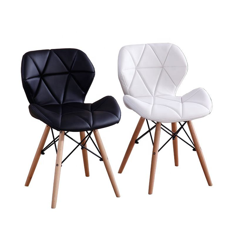 Top Quality Nordic Restaurant PU leather upholstered Dining Chair with Solid Wood Legs