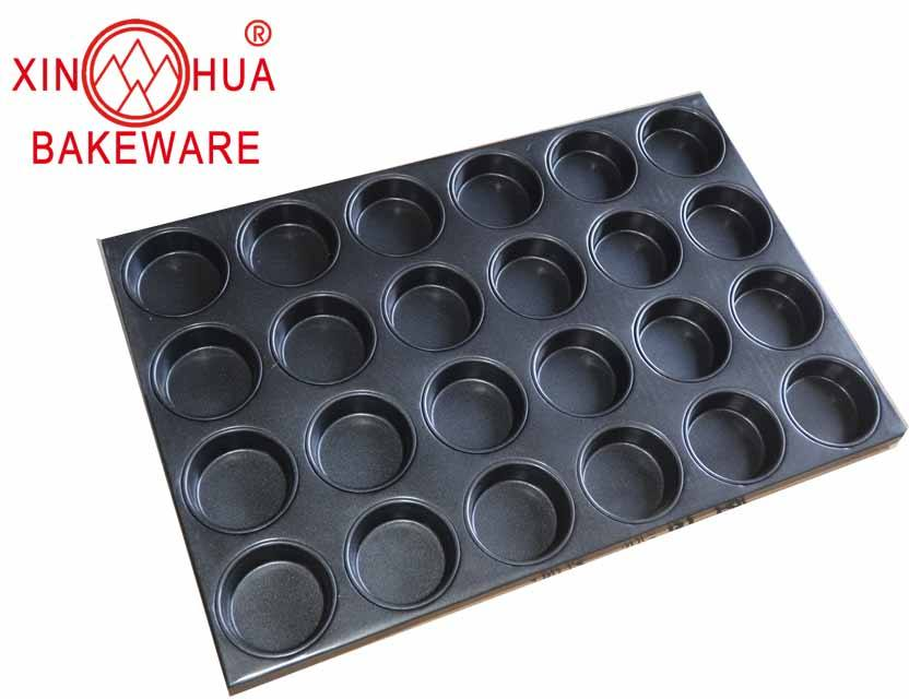 Non stick Alu-steel bakeware 24 cup mini cupcake muffin pan for industry use