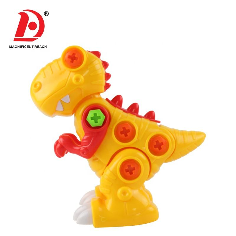 HUADA 2020 New Styling Kids DIY Disassemble Plastic Build Block Yellow Dinosaur Figures Toys