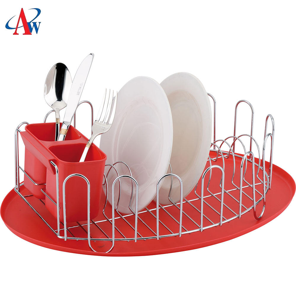 Chrome plated dish rack metal wire dish drying rack with the best price(AWK119)