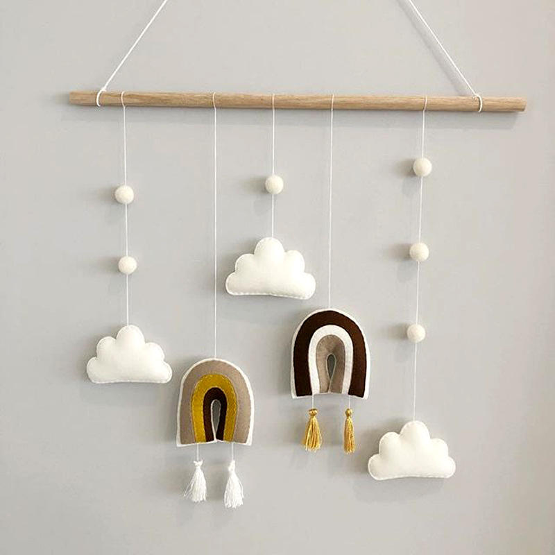 Nordic Style Wooden Hanging Felt Decoration Children Home Decoration Wall Hanging