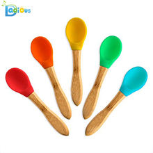 New Products Eco-friendly Bamboo Utensils Baby BPA Free Spoon Bamboo Baby Silicone Natural Baby Spoons
