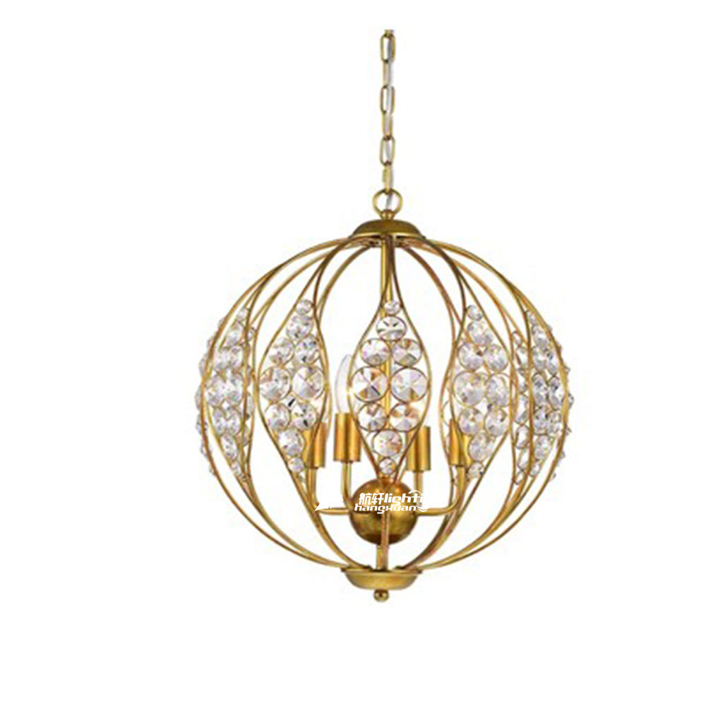 Octagonal Beads Crystal Hanging Decorative Orb Unique Chandelier Light with brass Frame, Wrought Iron Hotel Globe Pendant Lamp