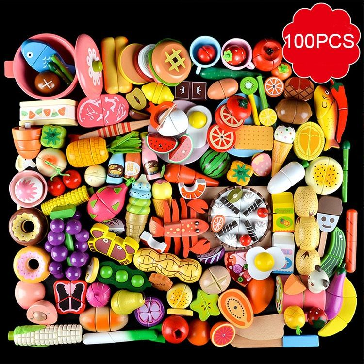 100PCS Set Children Wooden Kitchen Toy Cutting Vegetable Fruit Toy with Magnet for Cooking Early Learning Educational Toy Gift