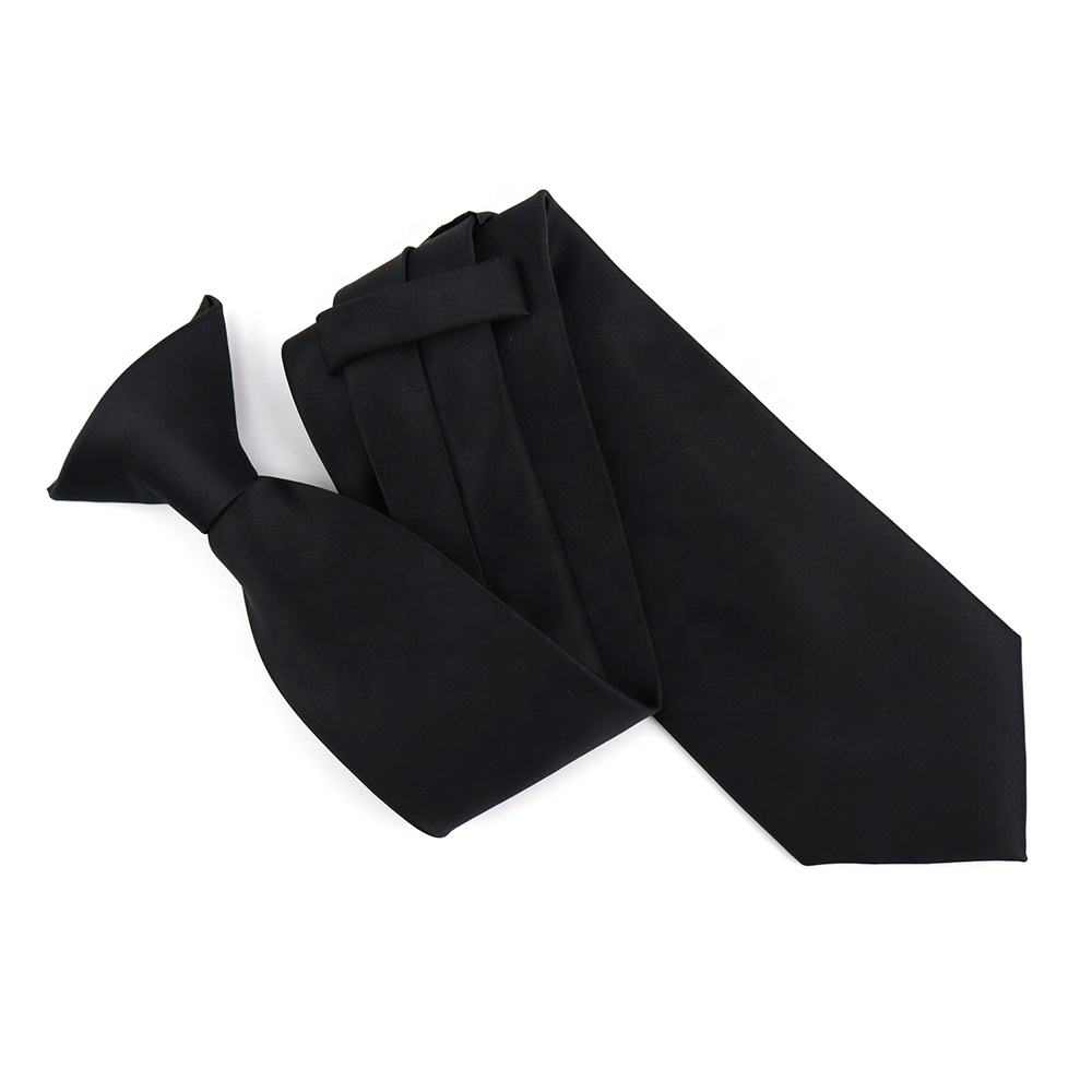 Easy Neck Tie Pretied Formal Polyester Satin Men Police and Security Wholesale Solid Color Tuxedo Black Clip On Ties